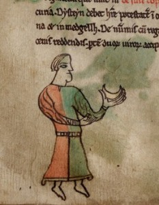 A court official in the Welsh Laws of Hywel Dda, Peniarth MS 28, f.8v (Digital Mirror).